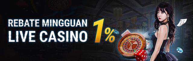 Rebate Mingguan Live Casino 1%